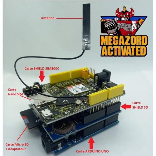 Appels, SMS, et MMS avec le shield SIM800C, le shield Carte SD et Arduino UNO
