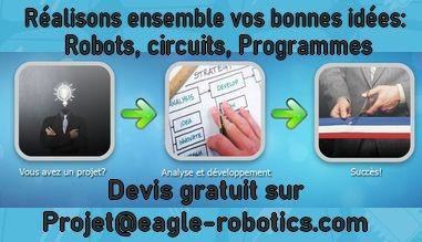 Réalisons ensemble vos projets de robots, cartes, et programmes. Devis gratuit sur projet@eagle-robo